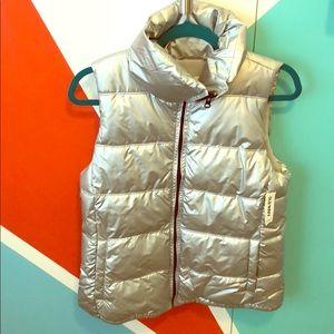 Silver Puffer Fleece Lined Vest